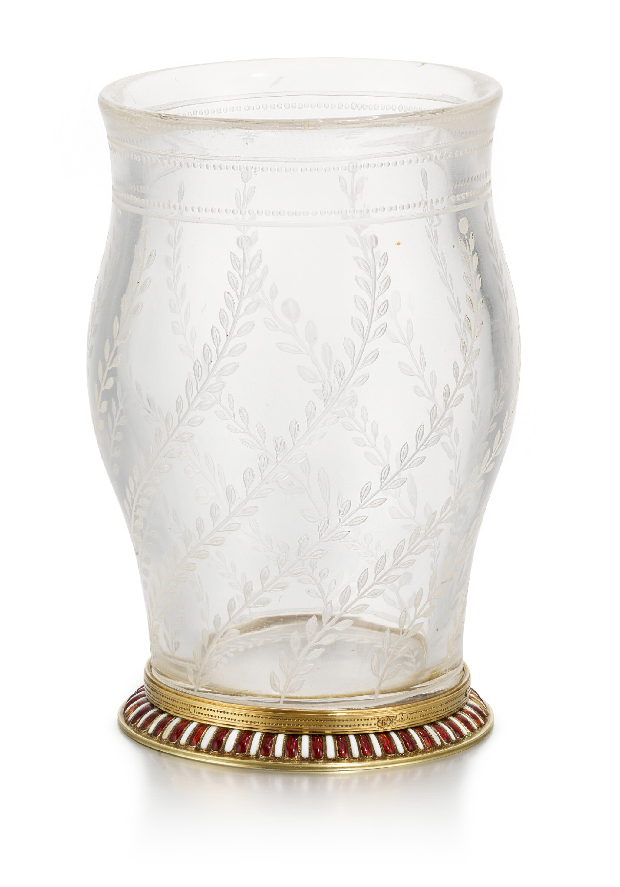 View full screen - View 1 of Lot 42. A Fabergé en plein enamel gold-mounted rock crystal vase, workmaster Michael Perchin, St Petersburg, 1899-1903.