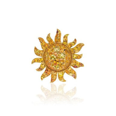 View 1. Thumbnail of Lot 27. ORANGE AND YELLOW SAPPHIRE PENDANT, MICHELE DELLA VALLE.