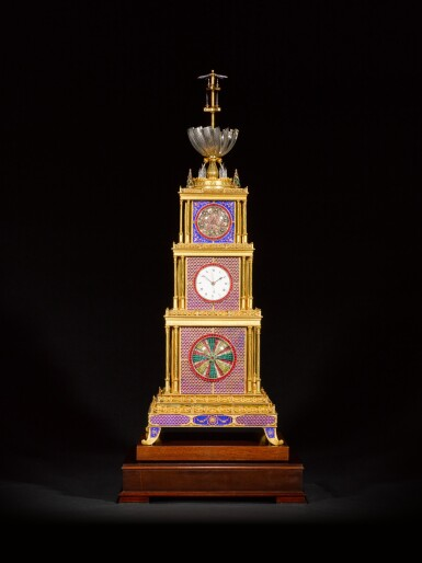View 4. Thumbnail of Lot 16. John Mottram. A George III gilt-brass and enamel musical automaton clock for the Chinese market, London, circa 1790.