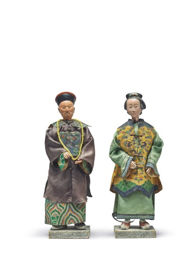 A Pair Of Chinese Painted Plaster Nodding Head Figures Of An Official And Lady Qing Dynasty