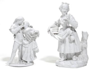 A BERLIN (WEGLEY) WHITE COMMEDIA DELL'ARTE GROUP AND A FIGURE OF A GIRL, BOTH CIRCA 1755
