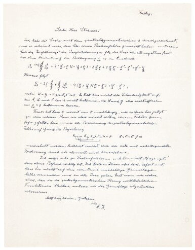 A. Einstein. Autograph letter signed, to the mathematician E.G. Straus, with three equations [spring 1945?]