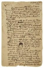 "MATHER, COTTON | Autograph letter signed (""Co. Mather""), to the Reverend Samuel Danforth, regarding concerns surrounding Reverend James McSparran, Boston, 29 April 1719"