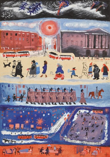 View full screen - View 1 of Lot 65. VERA MIKHAILOVNA ERMOLAEVA | Illustration with Red Army Soldiers.