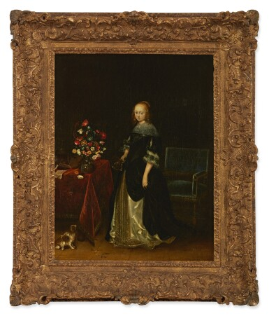 View 2. Thumbnail of Lot 4. FOLLOWER OF GERARD TER BORCH | PORTRAIT OF A YOUNG WOMAN, FULL-LENGTH, STANDING AT A TABLE, WITH A DOG.