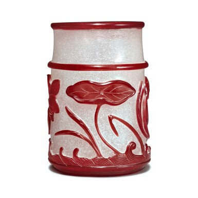 View 3. Thumbnail of Lot 56. A red overlay snowflake glass 'lotus pond' brushpot, Qing dynasty, 19th century.