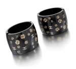 Pair of embellished black resin wide cuffs