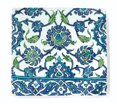 View 6. Thumbnail of Lot 129. Ten Pottery Tile Fragments, Mamluk, Ottoman, Timurid and European, 15th-18th centuries.