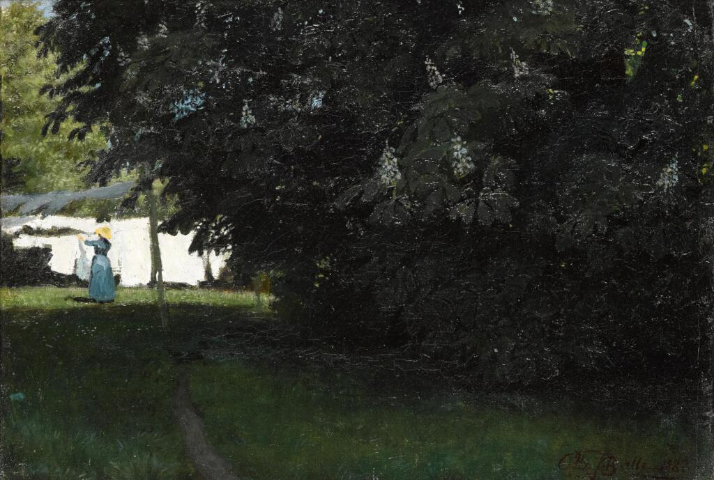 OTTO PETERSEN BALLE | A young Danish girl hanging up linen by a blooming chestnut tree in the garden of the vicarage in Aversi