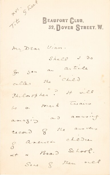 View 1. Thumbnail of Lot 126. Oscar Wilde | Five autograph letters signed, to Alsager Vian, 1887.
