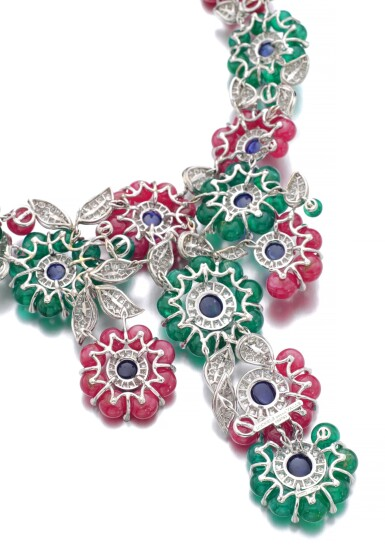View 3. Thumbnail of Lot 91.  MICHELE DELLA VALLE | GEM SET AND DIAMOND NECKLACE.