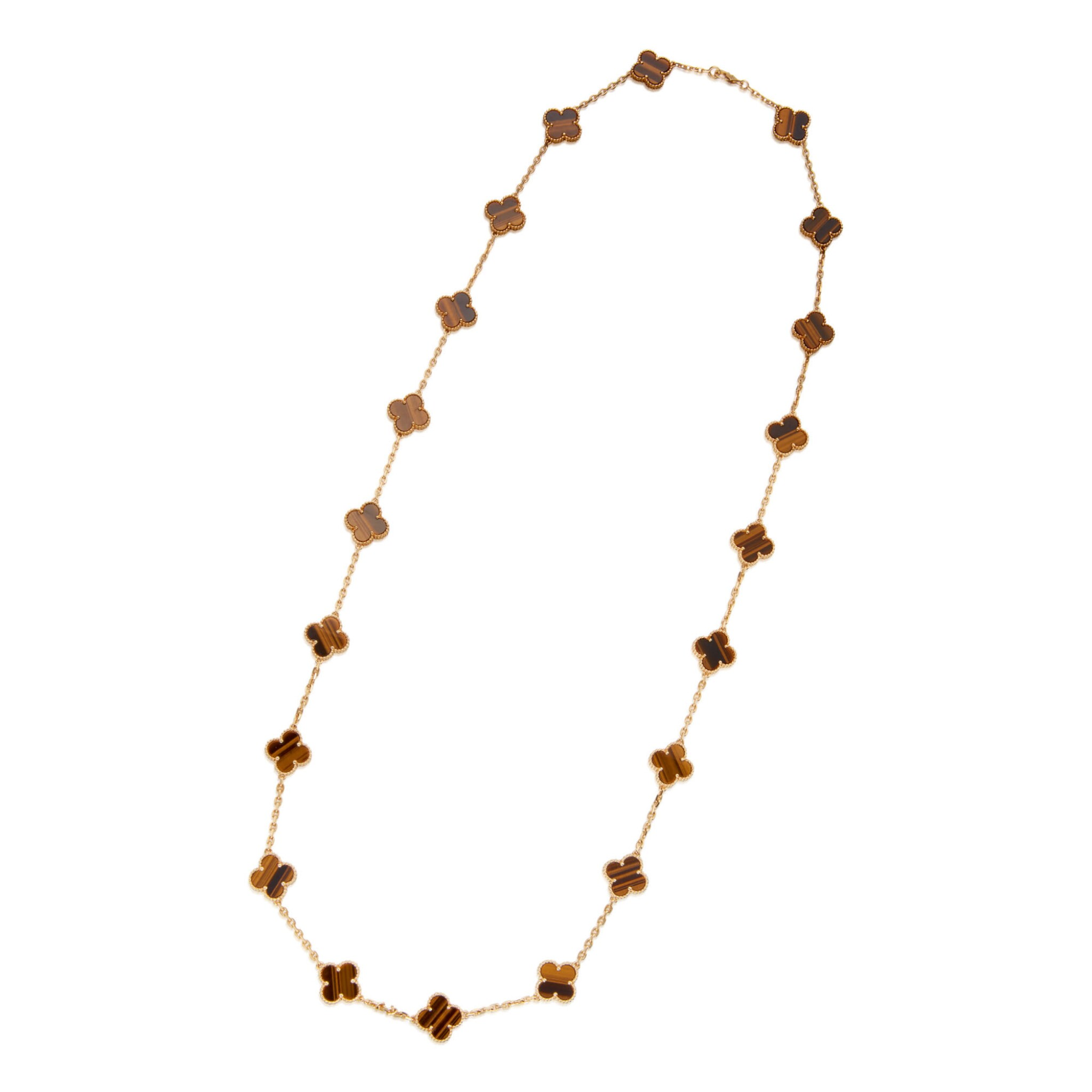 View full screen - View 1 of Lot 12. TIGER'S EYE 'VINTAGE ALHAMBRA' NECKLACE, VAN CLEEF & ARPELS, FRANCE.