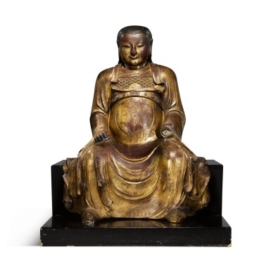 View 1. Thumbnail of Lot 225. A large gilt-lacquered wood figure of Zhenwu, Ming dynasty   明 木漆金真武坐像.
