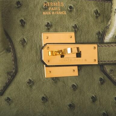 Hermès Vert Olive Birkin 35cm of Ostrich with Gold Hardware