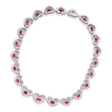 View 2. Thumbnail of Lot 424. Michele della Valle | Ruby and Diamond 'Cuori' Necklace.