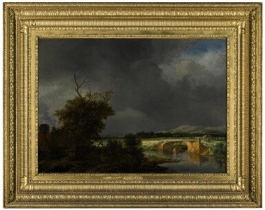 View 2. Thumbnail of Lot 10. Landscape with a cottage and stone bridge under a cloudy sky |《陰天下的茅屋與石橋風景》.