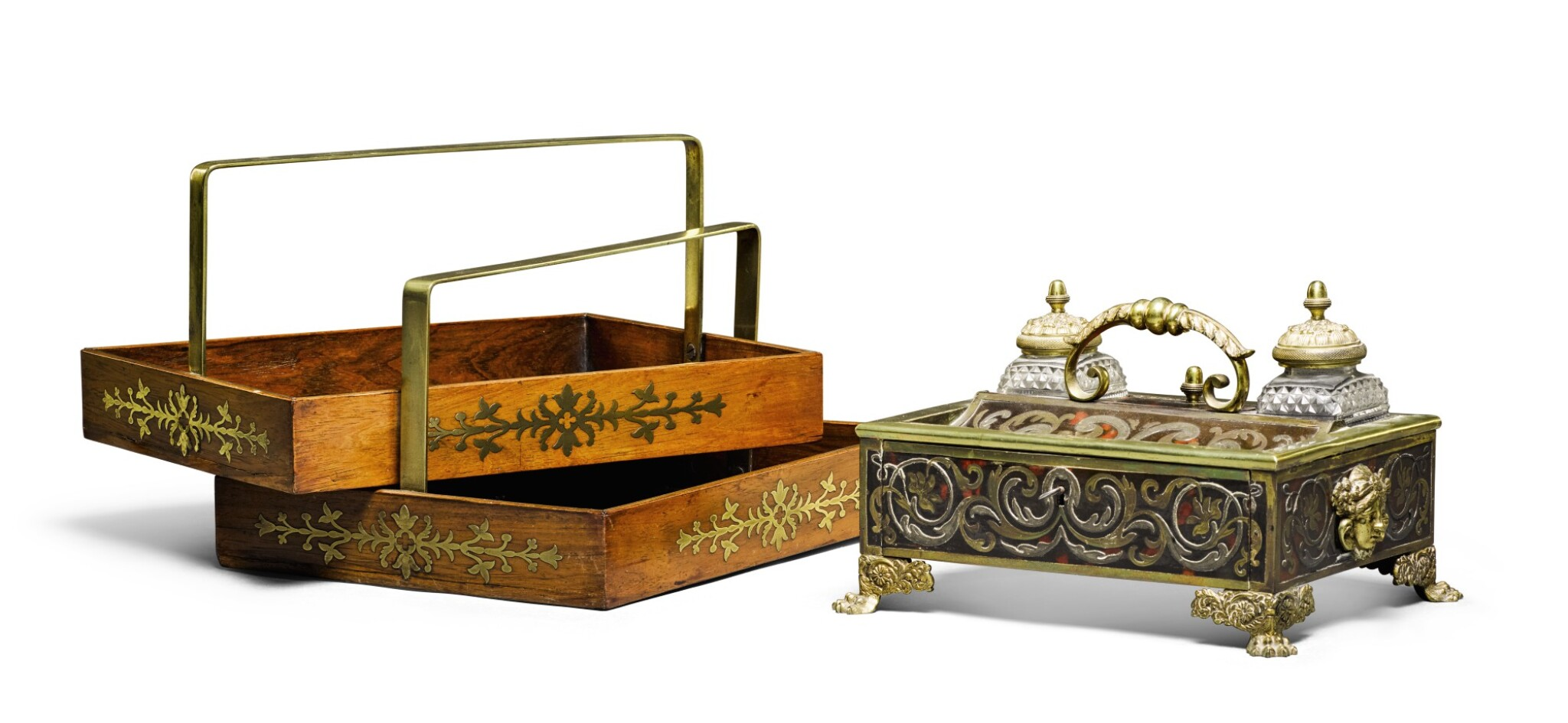A REGENCY BRASS AND PEWTER INLAID TORTOISESHELL INKSTAND, CIRCA 1820, ATTRIBUTED TO WELLS & CO.