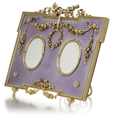 View 2. Thumbnail of Lot 31. A Fabergé gold-mounted, silver-gilt and guilloché enamel double-frame, workmaster Victor Aarne, St Petersburg, circa 1890.