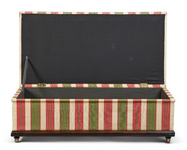 View 3. Thumbnail of Lot 99.  A LARGE SCALE REGENCY ROSEWOOD AND EBONISED FRAME OTTOMAN, SECOND QUARTER 19TH CENTURY.