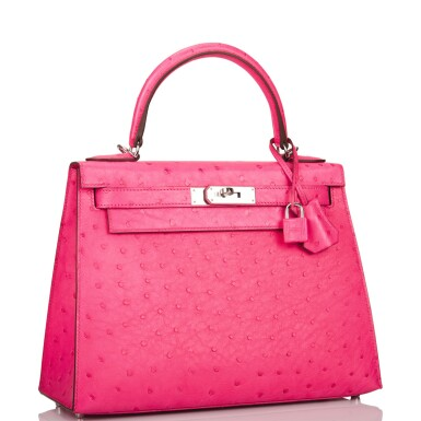 Hermès Rose Tyrien Sellier Kelly 28cm of Ostrich with Palladium Hardware