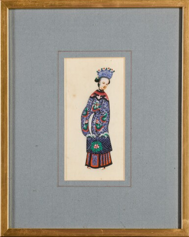 View 15. Thumbnail of Lot 163. A set of fourteen Chinese paintings on silk, Canton, 19th century.