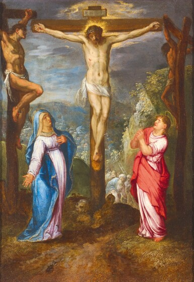 View 1. Thumbnail of Lot 56. NETHERLANDISH FOLLOWER OF ADAM ELSHEIMER, CIRCA 1620 | The Crucifixion with Saints Mary and John.