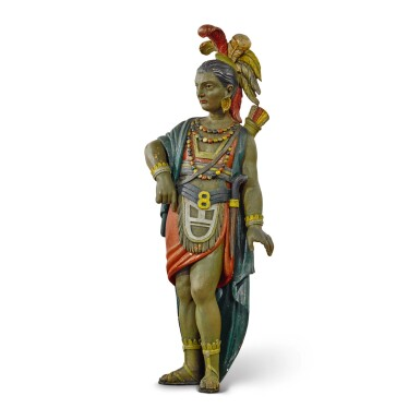 VERY FINE AND RARE CARVED AND POLYCHROME PAINT-DECORATED WOOD TOBACCONIST WALL MOUNTED NATIVE AMERICAN TRADE FIGURE, CIRCA 1880