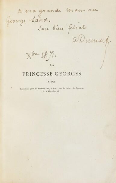 View 1. Thumbnail of Lot 96. La Princesse Georges. Paris,1872. In-8. Exemplaire de George Sand avec une LAS de Dumas fils..