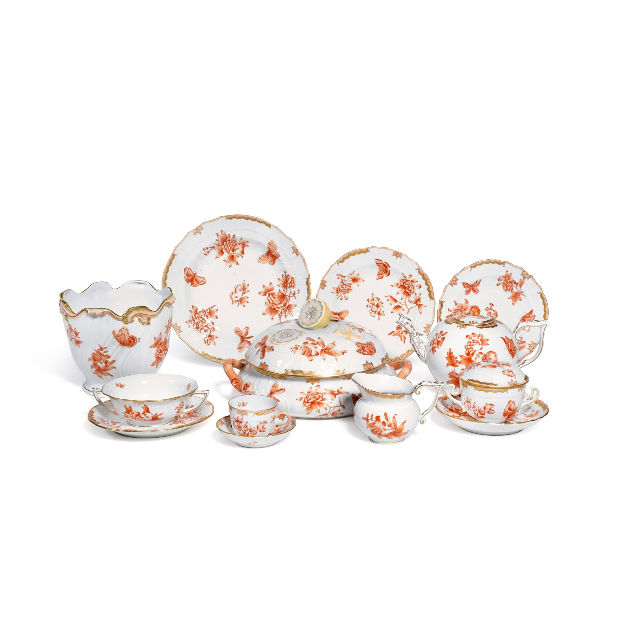 View full screen - View 1 of Lot 61. A HEREND 'QUEEN VICTORIA RUST' PATTERN COMPOSITE PART DINNER AND DESSERT SERVICE .