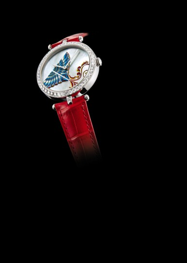 """View 3. Thumbnail of Lot 2150. VAN CLEEF & ARPELS   CERFS-VOLANTS EXTRAORDINARY DIALS, REFERENCE AR04F800, A LIMITED EDITION WHITE GOLD AND DIAMOND-SET WRISTWATCH WITH MOTHER-OF-PEARL AND ENAMEL DIAL, CIRCA 2019   梵克雅寶   """"Cerfs-Volants Extraordinary Dials 型號AR04F800  限量版白金鑲鑽石腕錶,備珠母貝及琺瑯錶盤,錶殼編號HH42812及3610165,約2019年製""""."""