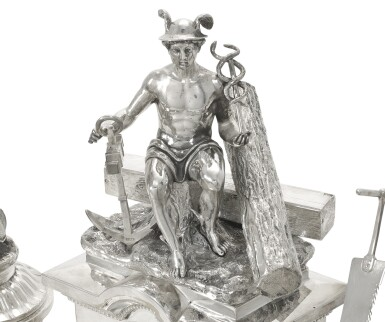 View 3. Thumbnail of Lot 214. A large and Impressive silver Imperial presentation inkwell, Grachev, St Petersburg, 1892.