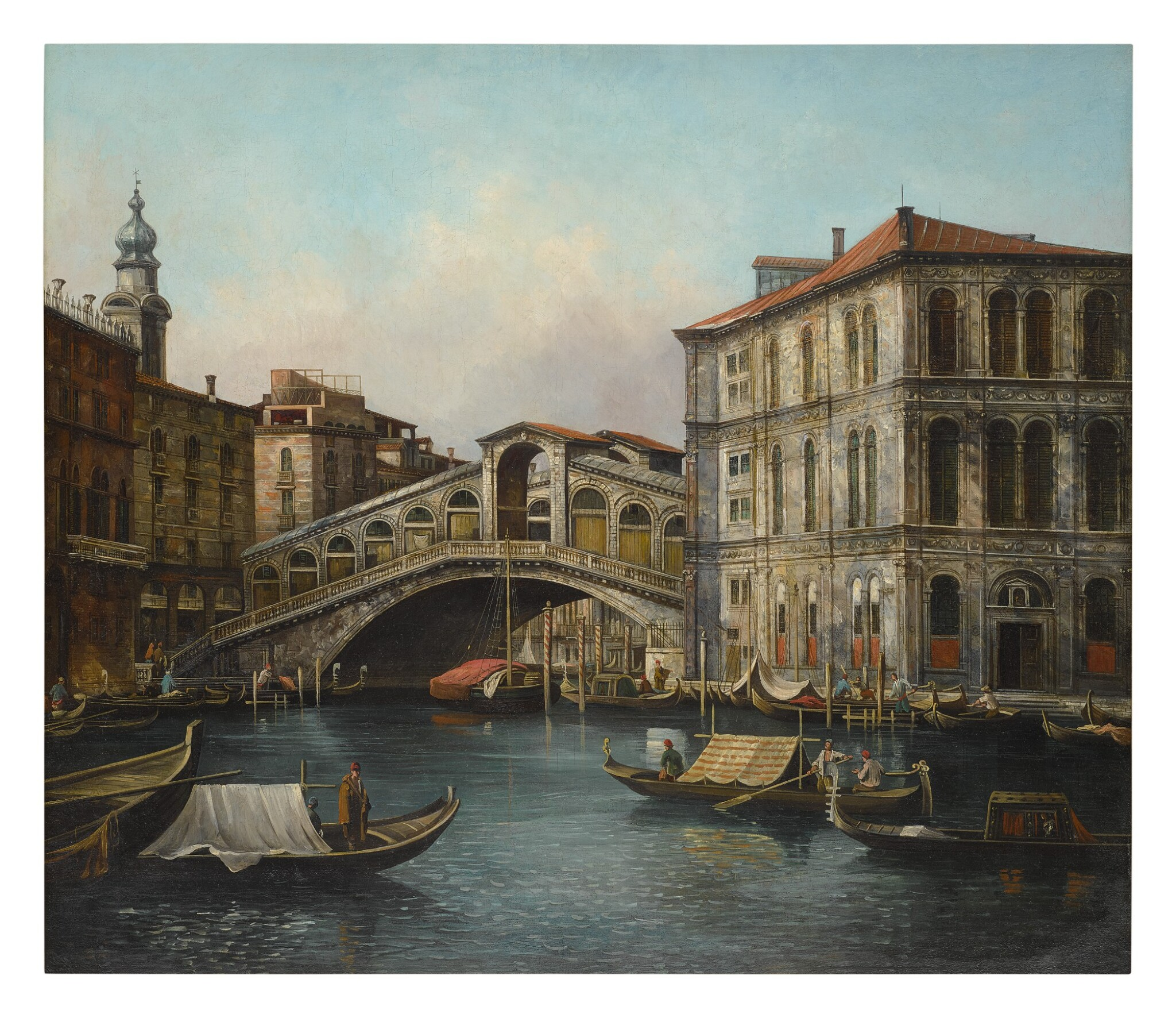 View full screen - View 1 of Lot 620. VENETIAN SCHOOL, 19TH CENTURY | VIEW OF THE RIALTO BRIDGE FROM THE NORTH WITH THE PALAZZO DEI CAMERLENGHI, VENICE.