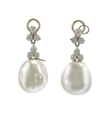 PAIR OF MABÉ PEARL AND DIAMOND EAR CLIPS