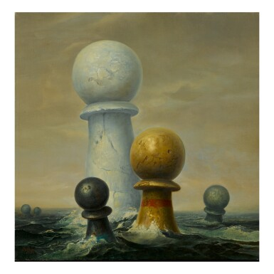 SAMUEL BAK | SURREALIST IMAGE (FLOATING CHESS PIECES)