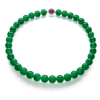 View 1. Thumbnail of Lot 1808. AN EXTRAORDINARY 'IMPERIAL JADE' JADEITE BEAD, RUBY AND DIAMOND NECKLACE  超凡極品「帝王玉」天然翡翠珠 配 紅寶石 及 鑽石 項鏈.