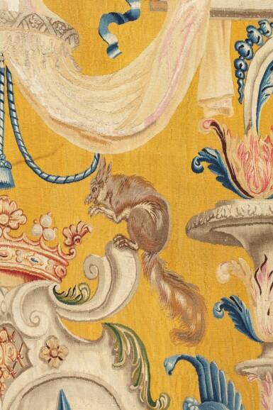 View 4. Thumbnail of Lot 22. A PAIR OF LOUIS XIV TAPESTRIES PORTIÈRES, PROBABLY LILLE, WORKSHOP OF GUILLAUME WERNIERS   PAIRE DE PORTIÈRES AUX ARMES EN TAPISSERIE, PROBABLEMENT LILLE, ATELIER DE GUILLAUME WERNIERS, D'ÉPOQUE LOUIS XIV.