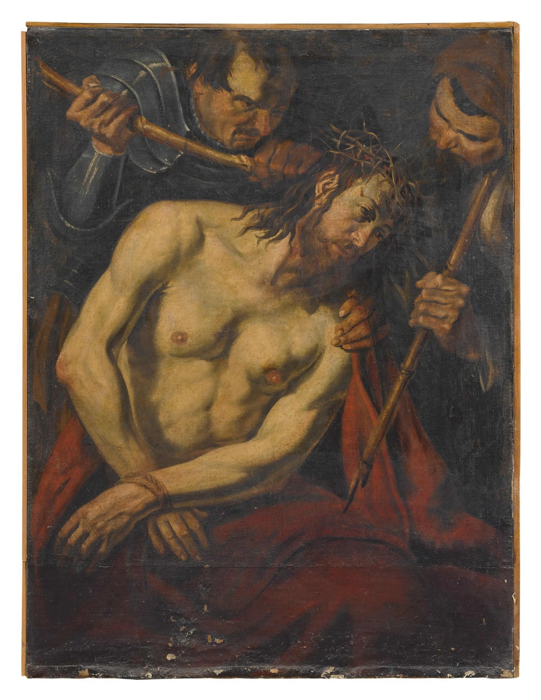 View full screen - View 1 of Lot 555. CIRCLE OF VALENTIN DE BOULOGNE | THE CROWNING OF THORNS.