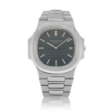 View 1. Thumbnail of Lot 68. 'Jumbo' Nautilus, Ref. 3700/1 Stainless steel wristwatch with date, bracelet and cork presentation case Made in 1976 | 百達翡麗 3700/1型號「'Jumbo' Nautilus」精鋼鍊帶腕錶備日期顯示,附軟木錶盒,1976年製.