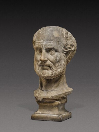View 2. Thumbnail of Lot 85. A Roman Marble Portrait Head of a Man, probably Thucydides, 2nd Century A.D..