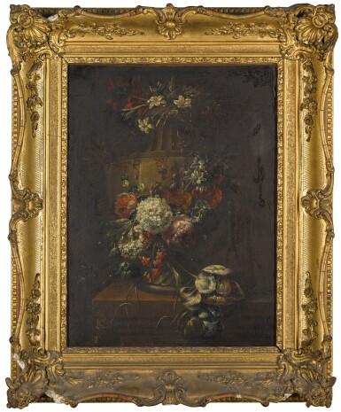 FOLLOWER OF GASPAR PIETER VERBRUGGEN | Still life of a garland of flowers around a sculpted urn