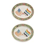 A RARE PAIR OF CANTON FAMILLE-ROSE OVAL PLATTERS BEARING THE FLAGS OF THE UNITED STATES OF AMERICA AND THE REPUBLIC OF CHINA, REPUBLIC PERIOD, 1912-28 | 民國 1912-28年 廣彩中美國旗圖盤一對