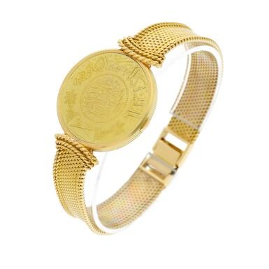 View 5. Thumbnail of Lot 66. A yellow gold coin bracelet watch, Circa 1970.