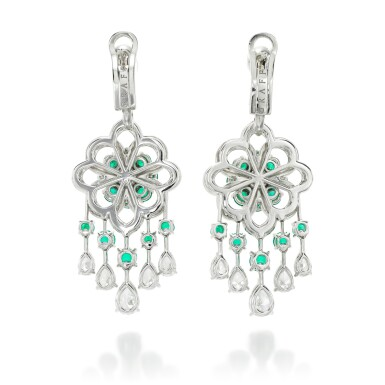 View 3. Thumbnail of Lot 32.  GRAFF | PAIR OF EMERALD AND DIAMOND EARRINGS.