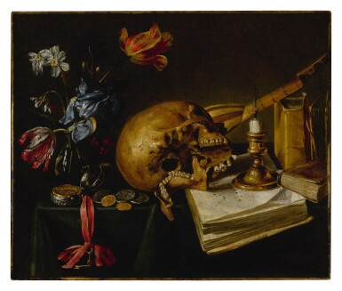 View 1. Thumbnail of Lot 639. A still life with a skull, a music book, a snuffed-out candle, a bouquet of dying flowers and other vanitas objects on a table.