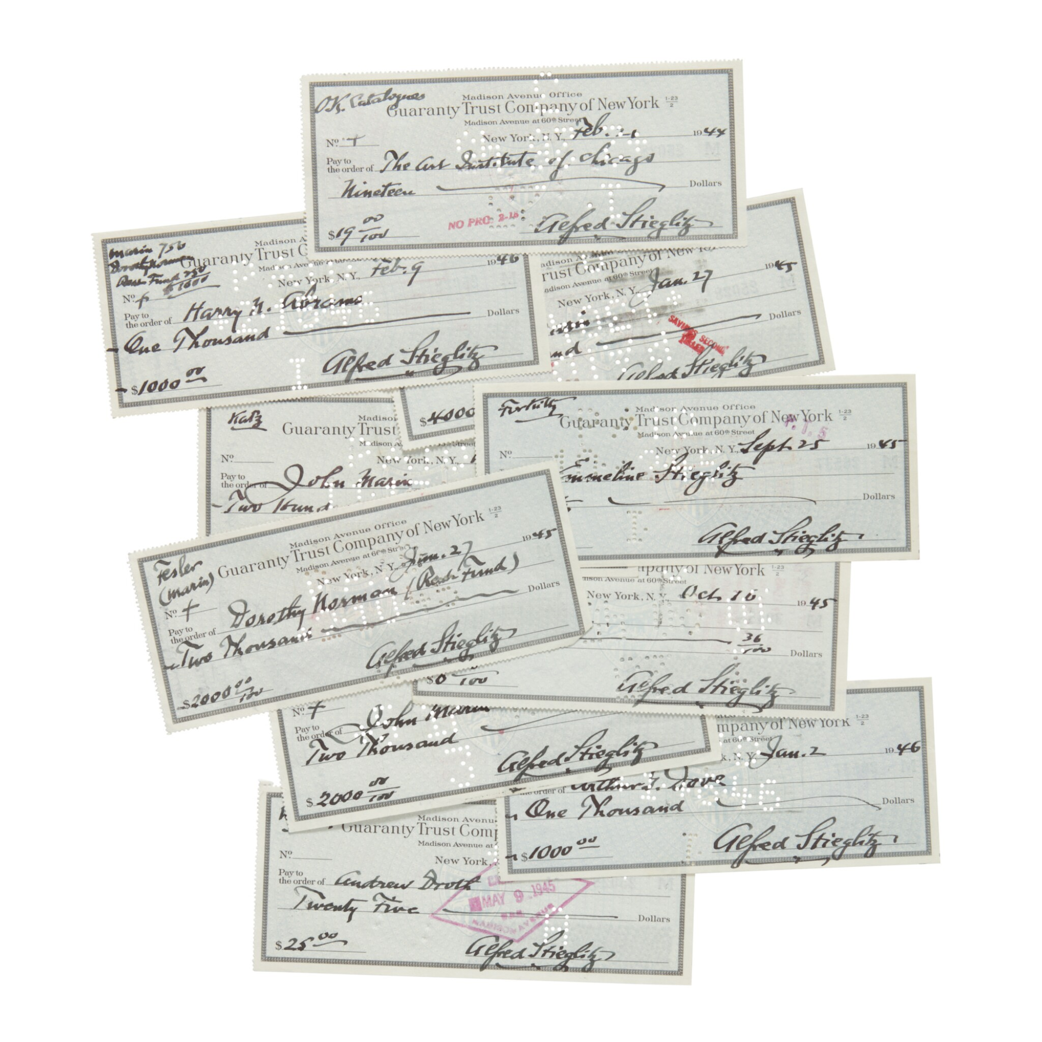 ALFRED STIEGLITZ | 10 CHECKS, EACH SIGNED BY ALFRED STIEGLITZ AND ENDORSED BY THE VARYING RECIPIENTS, NEW YORK, 1944–1946