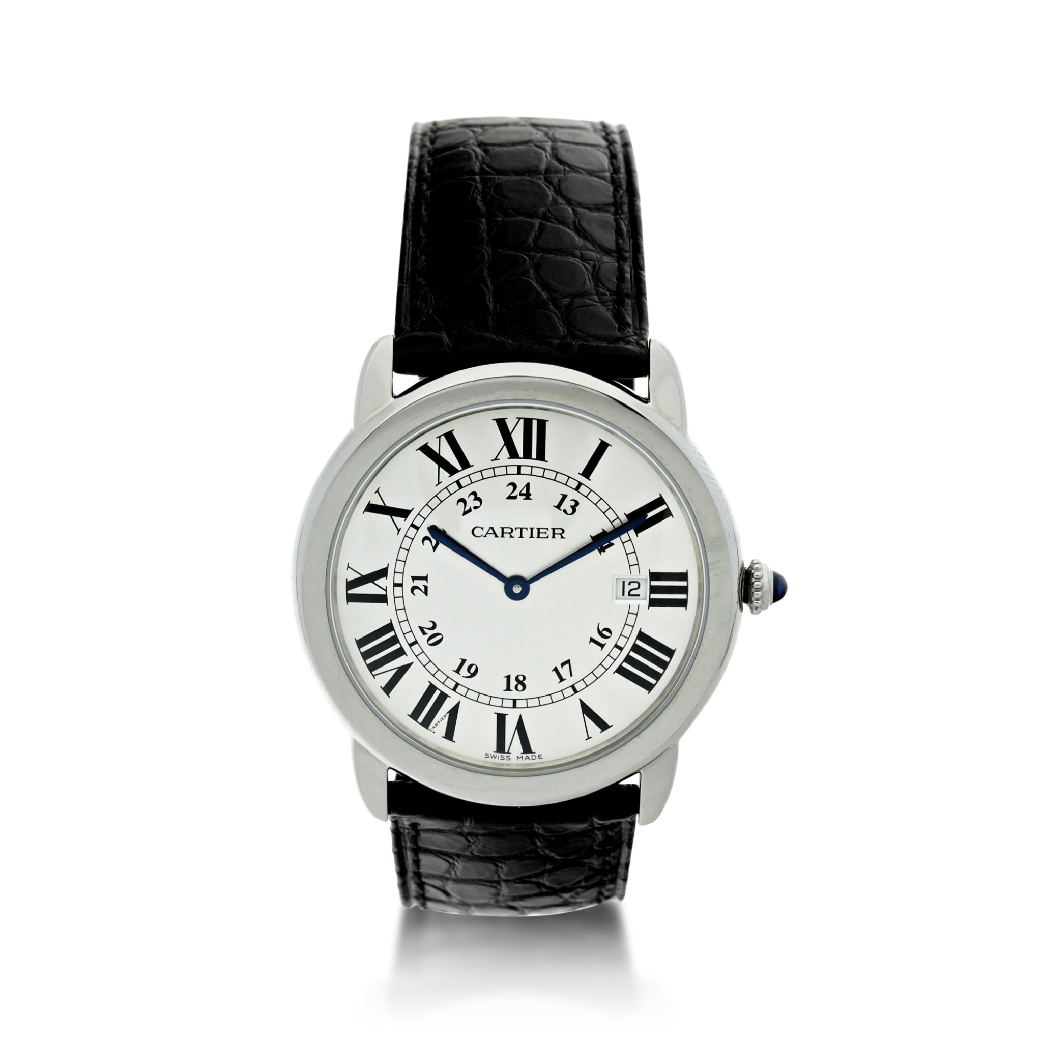 View full screen - View 1 of Lot 116. CARTIER   REFERENCE 3603 RONDE SOLO DE CARTIER A STAINLESS STEEL WRISTWATCH WITH DATE, CIRCA 2016.