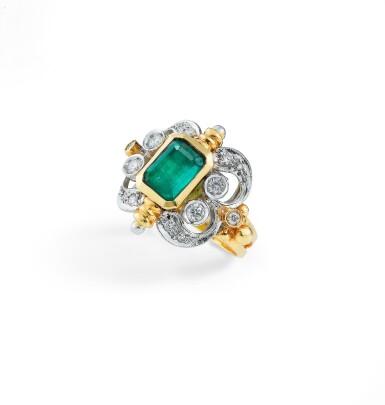 View 2. Thumbnail of Lot 7. BAGUE ÉMERAUDE ET DIAMANTS | EMERALD AND DIAMOND RING.