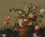 Still life with a vase of peonies and tulips