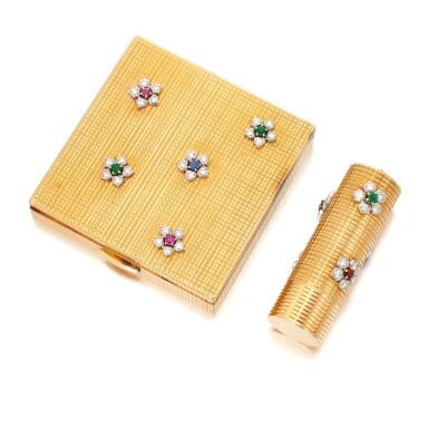 View 2. Thumbnail of Lot 53. Emerald, ruby, sapphire and diamond powder box and lipstick holder (Portacipria e porta rossetto con smeraldi, rubini, zaffiri e diamanti).