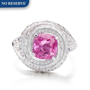 View 1. Thumbnail of Lot 1046. Pink Sapphire and Diamond Ring   格拉夫  3.13克拉 粉紅剛玉 配 鑽石 戒指 (鑽石共重約3.10克拉).